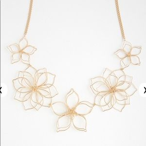 Floral Wire Statement Necklace NWT